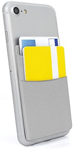 MyGadget Porta Tarjetas de Crédito Adhesiva con 2 Bolsillo para Móvil - Tarjetero Adhesivo Universal - Funda Cartera Elástica con Bloqueo RFID - Argento