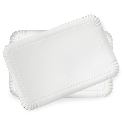 Confezione da 20 vassoi di Cartone Bianco, vassoi di Presentazione per Pasticceria o Buffet Freddo (28 x 42 cm)