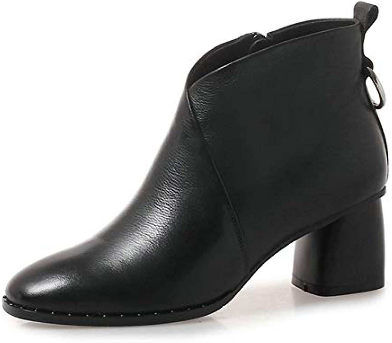 HAOLIEQUAN Frauen Stiefeletten Stiefeletten Blacl Damen Schuhe Winter Stiefel Warme Leder Pu Hochwertige Größe 34-42  Qualität zuerst Verbraucher zuerst