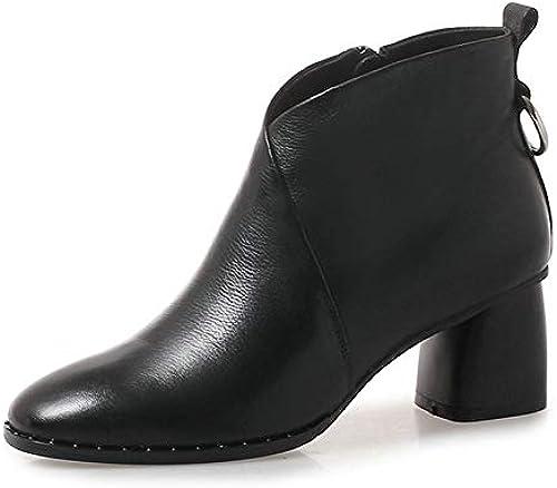 HOESCZS 2019 Femmes Bottines Blacl Femmes Chaussures Bottes d'hiver d'hiver Chaudes en Cuir Véritable + PU Haute Qualité Femmes Bottes Taille 34-42  votre satisfaction est notre cible
