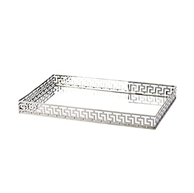 Silver Greek Key Mirrored Tray