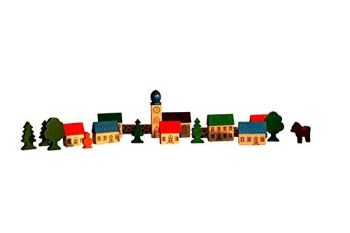 Erzgebirgische Holzspielwaren Ebert GmbH Bergdorf im Beutel – Holz-Stadt – Bausteine – Bauklötze – Holzsteine – Holzspielzeug aus dem Erzgebirge – NEU