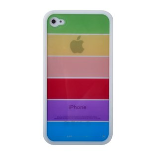 LIMS iPhone4 レインボー 保護ケース (ホワイト)(-)