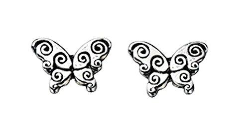 Orecchini / orecchini a farfalla in filigrana da donna per bambini coppia / set in argento sterling 925, orecchini a farfalla con superficie parzialmente annerita, qualità dei gioielli dalla Germania