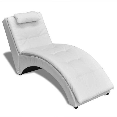 UnfadeMemory Chaiselongue mit Kopfkissen Relaxliege Liegesessel Kunstleder-Bezug Holzgestell Wohnzimmer Lounge Relaxsessel 150 x 55 x 72 cm (Weiß)