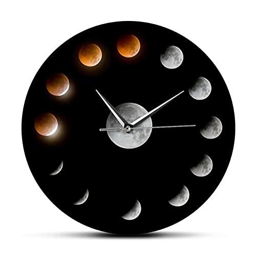 Eclipse Lunar Total Fases de la Luna Super Luna Reloj de Pared Celestial Espacio Exterior Ciclo Lunar decoración del hogar Reloj de Pared silencioso-No Frame