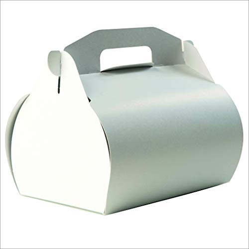 Andreas Ritter Verpackungen Kuchentragebox mit Griff, 25 Stück, 13x20x18cm (Füllhöhe 13cm), weiß, ohne Aufdruck, aus Karton 450g/qm, inkl. 25 Pappteller