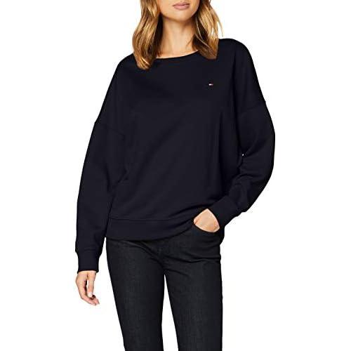 Tommy Hilfiger Women's Oversized Open-nk Sweatshirt Ls Sweater