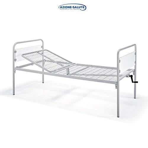 Letto per degenza ospedaliera o domiciliare a 1 sezione e 1 manovella. Struttura in acciaio con alzatesta regolabile