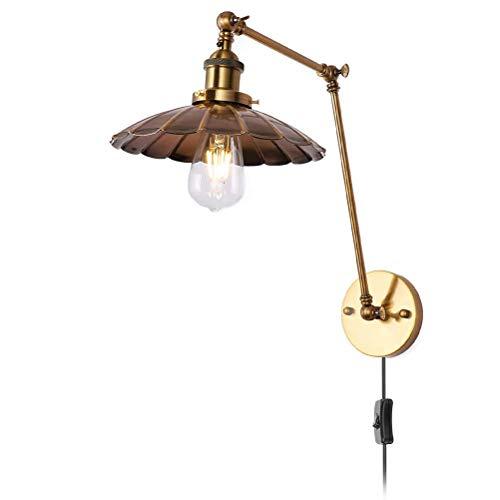 Lámpara de pared industrial E27 con interruptor y enchufe, lámpara de pared retro Lámpara de luz de lectura de pared de brazo largo de metal ajustable, para sala de estar del dormitorio Color cobre