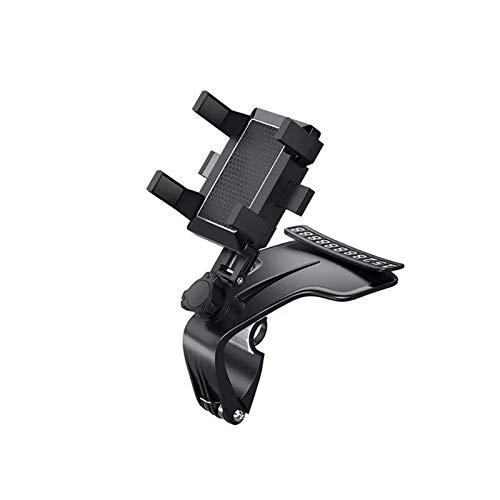 Soporte multifuncional para teléfono móvil de coche Soporte de GPS giratorio de 360 grados para salpicadero de coche Visor de sol Espejo retrovisor computadora (negro)