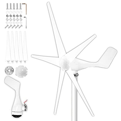 Rpvati 1500W Wind Generators for Homes Use, 5 Blades Wind Turbines Generator 24V Energy Turbines Charge, with Controller for Marine Rv Homes Industrial Energy, US Spot (White)