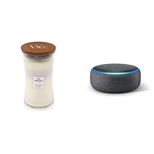 Woodwick Large Hourglass Trilogy Scented Candle   Terrace Blossoms   Burn Time: Up to 130 Hours, Terrace Blossoms & Echo Dot (3rd Gen) - Smart Speaker with Alexa - Charcoal Fabric