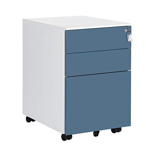 SONGMICS Rollcontainer mit 3 Schubladen, vormontiert, abschließbarer Büroschrank mit Hängeregistratur, für Akten, Dokumente, Schreibwaren, 52 x 39 x 60 cm, weiß-blau OFC60WB
