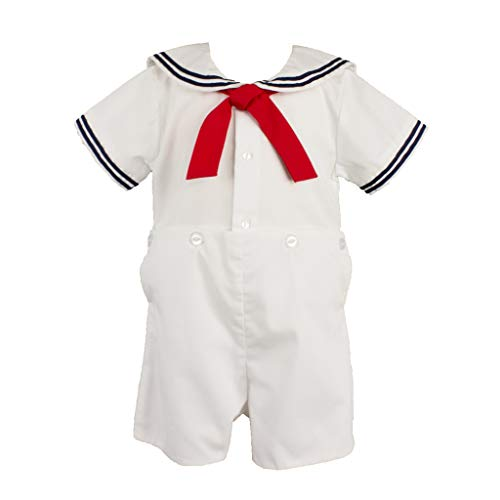 Petit Ami Baby Boys' 2 Piece Nautical Bobby Suit with Collar, 4T, White