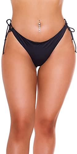 Koucla Beachwear Bikini Slip Bikinihose Badehose Brazilian Style (Schwarz, S)