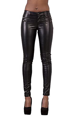Glook Mujer Sexy Leggins Cuero con Bolsillo Skinny Elástico Pantalón Slim Fit Negro