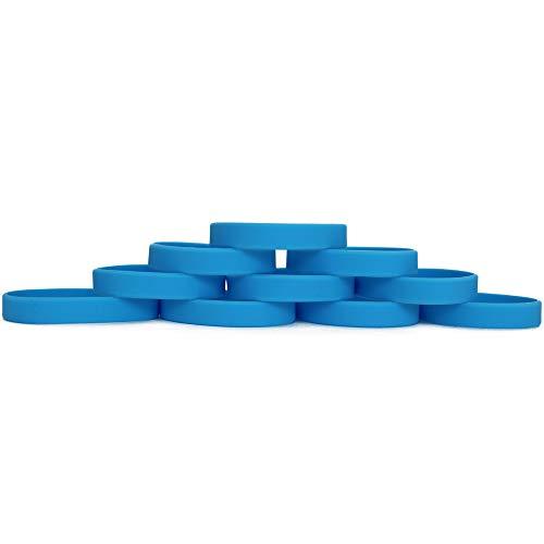 Extiff Set di 10 Braccialetti in Gomma siliconica, Personalizzabili, 20 Colori Disponibili (Blu)