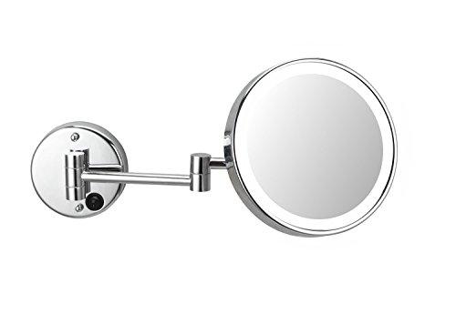 DEUSENFELD WLED1000A - AKKU LED Kosmetikspiegel, 10x Vergrößerung, Ø20cm, Tageslicht LEDs, 5200mAh Lithium Ionen Akku, inkl. weißem Ladegerät, verchromt