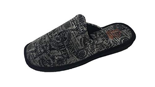 Zapatillas de Estar por casa/Hombre/Berevëre/Suapel/Suela Eva/Muy Ligeras/Color Negro Estampado/Tallas del 39 al 51/Talla 42