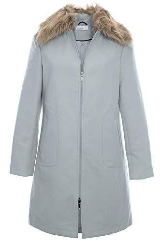 Sheego Kurzmantel Mantel Wintermantel Gehrock Jacke Damen Fellkragen Plusgröße, Farbe:hellgrau, Damengrößen:48