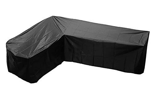 Funda Esquina Protectora Sofa Muebles Funda Protectora Sofá de Esquina de Tela Oxford 210D, Impermeable Anti UV, a Prueba de Polvo, a Prueba de Viento, Negro,222x286x82cm
