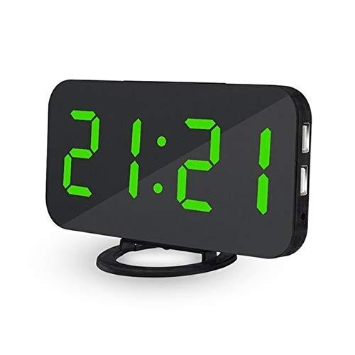 Renfengchui Reloj Despertador Digital Led Espejo Reloj Snooze USB Mesa Electrónica Marco Reloj De Pared Atenuación Automática Verde