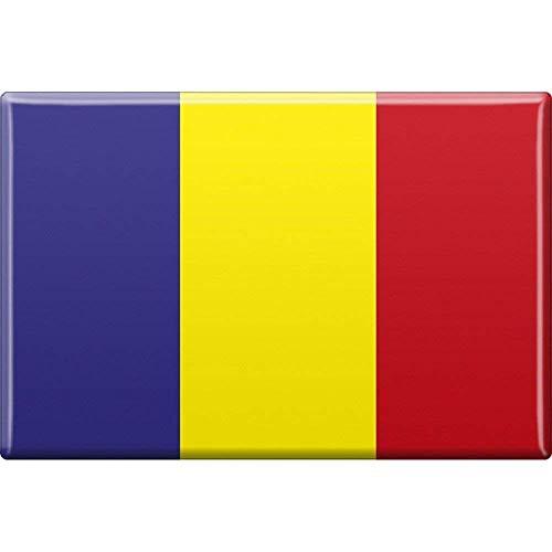 MAGNETBUTTON Länderflagge • RUMÄNIEN • NEU Gr. ca. 7,5cm x 5,5cm (37809) Metall-Magnet Küchenmagnet