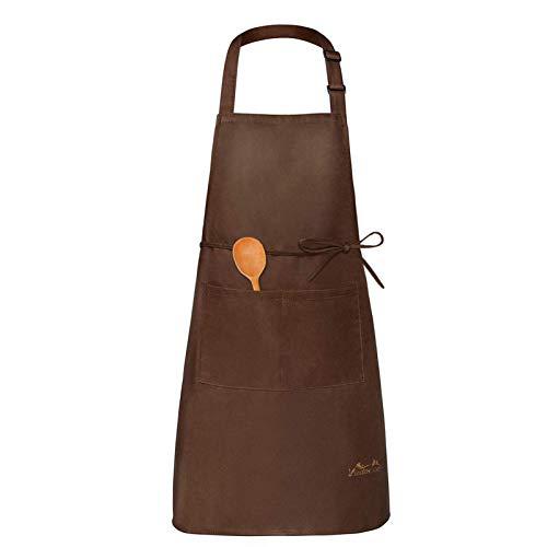 Viedouce Delantales Impermeables Ajustables del Cocinero con Bolsillo Cocina Delantale para Mujeres Hombres,Delantal Chefs Cocina(1x Delantal + 1 x Toalla de té)