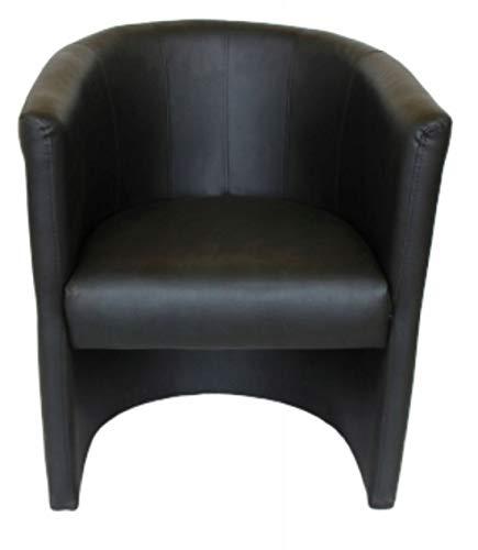 MARTHOME Sillón Club TOM, Silla tapizada, Taburete de Cuero Artificial, sillón para salón, Oficina, Hotel (Negro)
