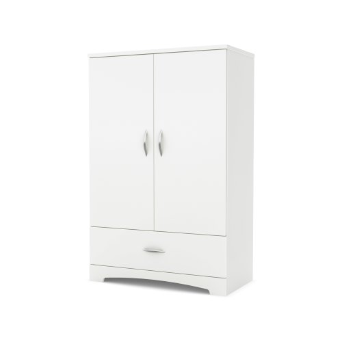 South Shore 2-Door Armoire with Adjustable Shelves and Storage Drawers, Pure White
