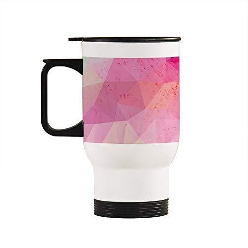 Taza de viaje con asa, diseño de triángulo, mármol rosa y plata de acero inoxidable, 15 onzas con asa, regalos personalizados para marido, papá, mamá, abuelo, abuela