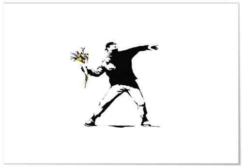 Panorama Lienzo Banksy Lanzador de Flores 50x35cm - Impreso en Lienzo Bastidor -...