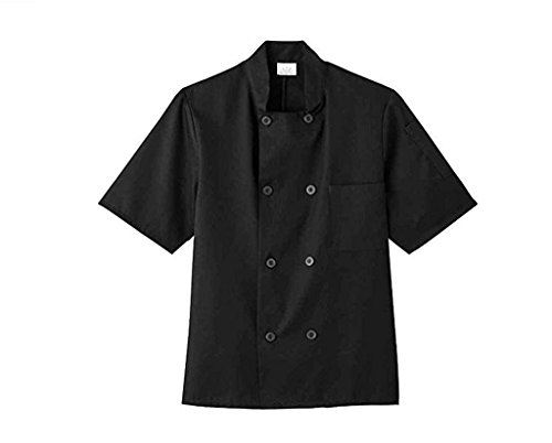 Five Star 18001 Unisex Short Sleeve Chef Jacket (Black, Medium)
