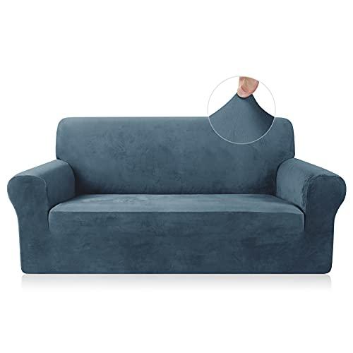 TAOCOCO Funda de sofá Funda de sofá de Terciopelo Mantas de sofá Funda de sofá elástica Fundas de sofá para Sala de Estar (Azul Verde, 2 Plazas)