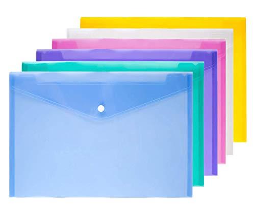 Cartellina portadocumenti, formato A4, in plastica, 6 pezzi