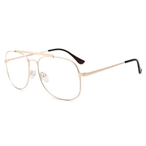 OQ CLUB Computer-Brille mit Blauem Lichtfilter Stilvolle Piloten-Brille Unisex-Design Retro-Lesebrille (Anti-Blaulicht-Linse, Goldrahmen)