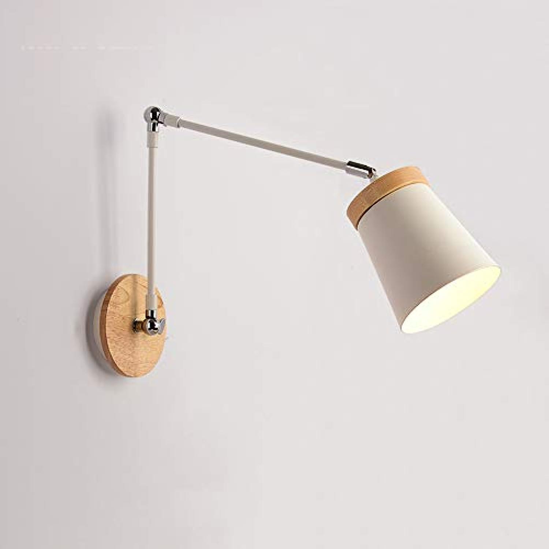 IBalody E27 1-Light Metall Eisen Lange Verstellbare Arm Wand Laterne Lampe Moderne einfache Massivholz Wohnzimmer Schlafzimmer Nachtwandleuchten Studie Gang Cafe Bar Wandleuchte (Farbe   Style-E)