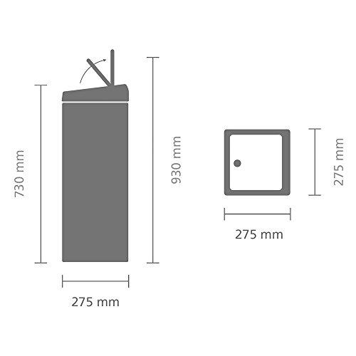 Brabantia Rectangular Touch Bin, 25 L - Matt Black
