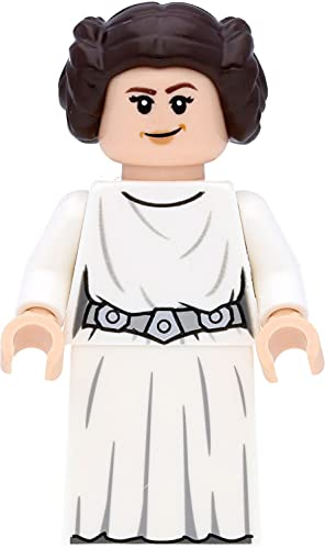 LEGO Star Wars - Minifigura de princesa Leia (2019) con vestido blanco con espadas láser