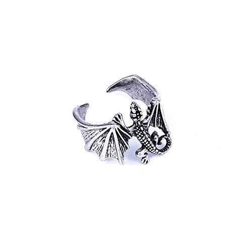BlackAmazement Ring Größenverstellbar Uni Größe Flugeidechse Eidechse Gecko Lizard Silber Damen Herren