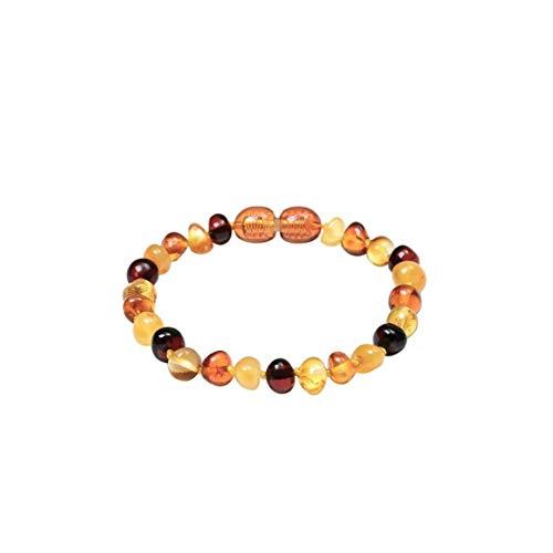 BRAVOLUNE Bernstein Zahnen Armband Anti Verringerung Der Schmerzen Certified Zahnen Beads Für Baby-Kind-mehrfarben 1setamber Zahnen Armband Babys Zahnen