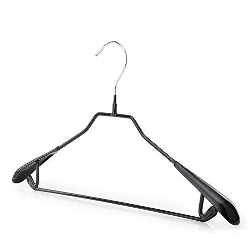 Hangerworld 15 Perchas 43cm Metal con Revestimiento Antideslizante Negro Barra Pantalón Traje