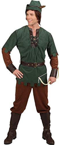 O7567-46-48 - Disfraz de Robin Hood para hombre, talla 46-48, color verde y marrn