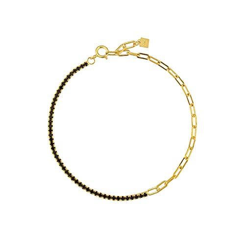 Pulsera de cadena de circonita arcoíris de plata esterlina 925 joyería de moda para mujer fina rock punk color regalo de color-18cm pulsera negra