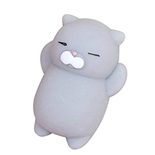 Encantador gato de dibujos animados Squishy Toy Stress-Relief Soft Mini Animal Squeeze Toy Descompresión Healing Toy Gran regalo - Gris