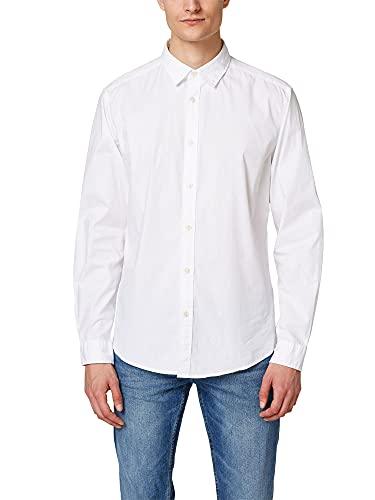 ESPRIT Herren Popeline Baumwoll-Stretch Freizeithemd, 100/WHITE, L