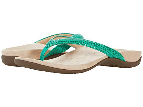 Vionic Women's Rest Dillon Toe Post Sandals- Supportive Ladies Sandals That Include Three-Zone Comfort with Orthotic Insole Arch Support, Sandals for Women, Flop Flops Green Lizard 10 Wide US