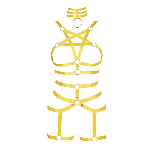 BBOHSS Conjunto de Sujetador de Pentagrama con arns Corporal para Mujer sin Copa Liguero Hueco Punk gtico Carnaval Disfraz de Halloween (Naranja Amarillo)