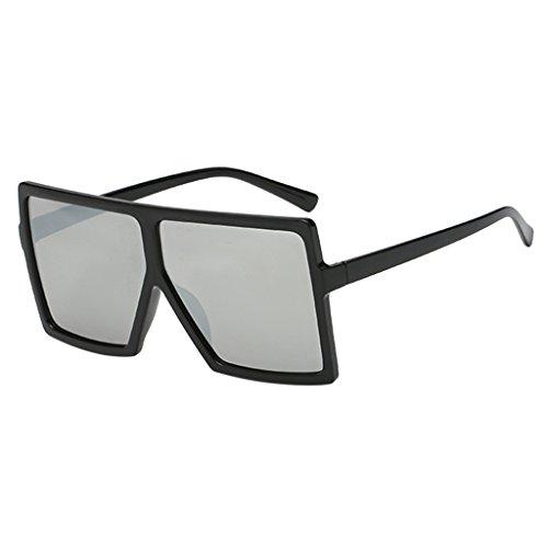 Harilla Gafas de Sol Rectangulares con Montura de Plástico Retro para Mujer - Lente de Plata Granja Negra